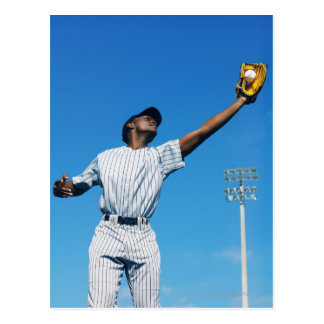 baseball player (16-20) catching ball in postcard