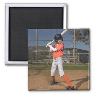 Baseball player 3 square magnet