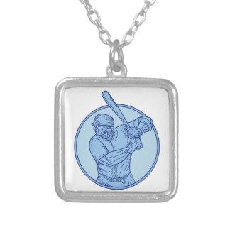 Baseball Player Batter Batting Circle Mono Line Silver Plated Necklace