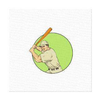 Baseball Player Batting Stance Circle Drawing Canvas Print