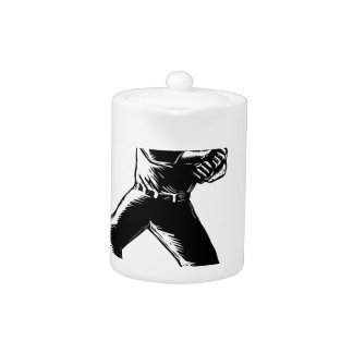 Baseball Player Batting Woodcut Black and White