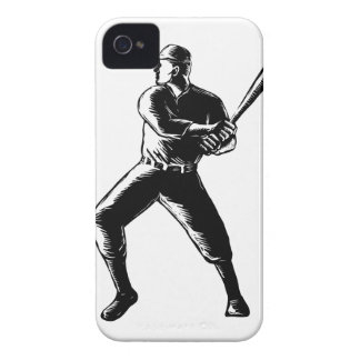 Baseball Player Batting Woodcut Black and White iPhone 4 Case