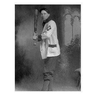 Baseball Player holding Bat Post Card