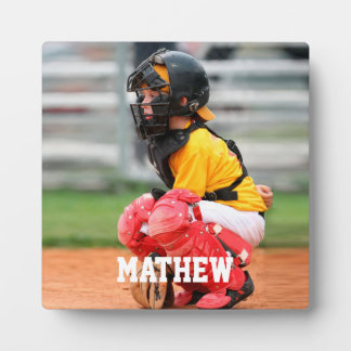Baseball Player Kid Photo Customize Plaque