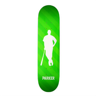 Baseball Player; Neon Green Stripes Skate Board