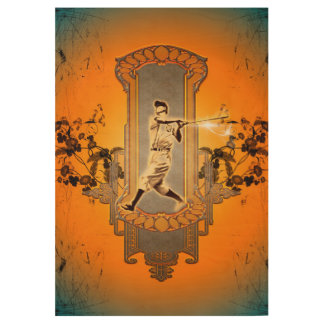 Baseball player on a shield with black flowers wood poster