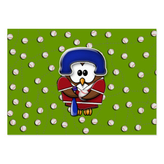 baseball player owl pack of chubby business cards