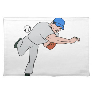 Baseball Player Pitcher Throw Ball Cartoon Placemat
