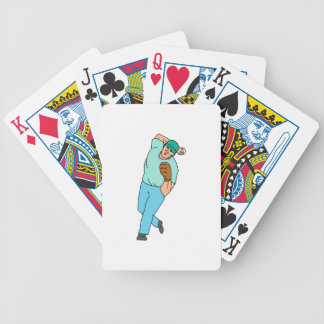 Baseball Player Pitcher Throwing Motion Cartoon Bicycle Playing Cards