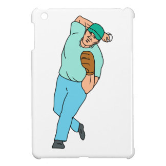 Baseball Player Pitcher Throwing Motion Cartoon iPad Mini Cases