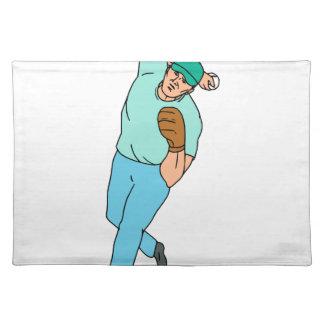 Baseball Player Pitcher Throwing Motion Cartoon Placemat