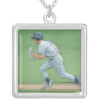Baseball Player Running to Base Custom Necklace