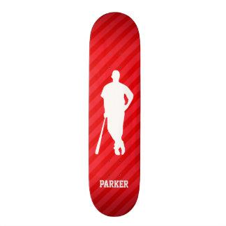 Baseball Player; Scarlet Red Stripes Custom Skateboard