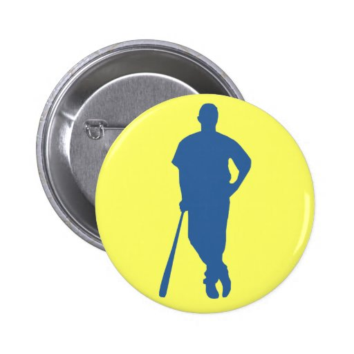 Baseball Player Silhouette Button Pinback Buttons