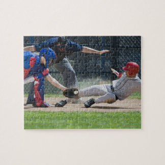 Baseball player sliding into home plate jigsaw puzzle