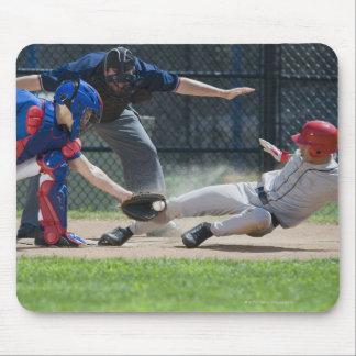 Baseball player sliding into home plate mouse pad