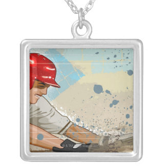 Baseball Player Sliding Silver Plated Necklace
