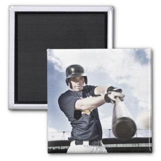 Baseball player swinging baseball bat 2 square magnet