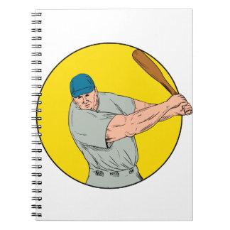 Baseball Player Swinging Bat Drawing Notebook
