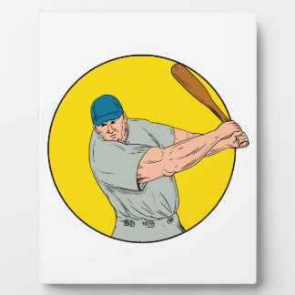 Baseball Player Swinging Bat Drawing Plaque