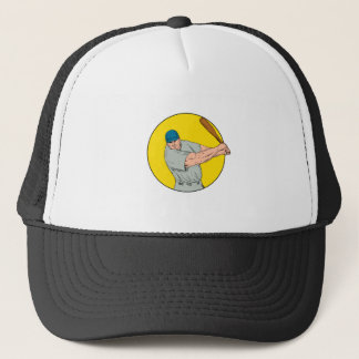 Baseball Player Swinging Bat Drawing Trucker Hat