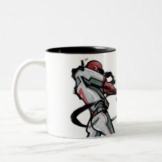 Baseball player swinging bat, side view Two-Tone coffee mug