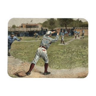 Baseball Player Thrown Out at Second Base Rectangular Photo Magnet