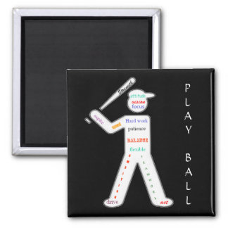 Baseball Player with Motivational Words Square Magnet