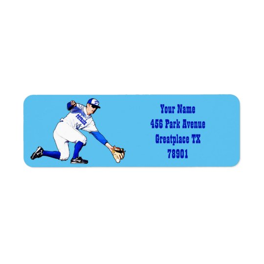 Baseball Player With Your Name Or Monogram Return Return Address Label