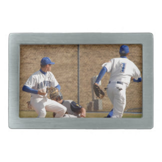 Baseball players on the field photo belt buckles