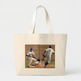 Baseball players on the field photo large tote bag