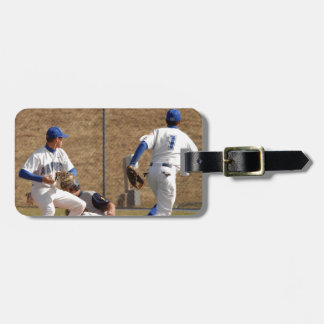 Baseball players on the field photo luggage tag