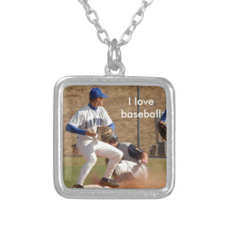 Baseball players on the field photo silver plated necklace
