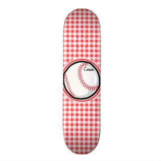 Baseball Red and White Gingham Skate Board