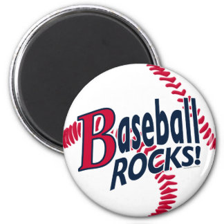 Baseball Rocks by Mudge Studios 6 Cm Round Magnet
