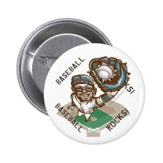 Baseball Rocks Catcher Button