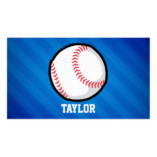 Baseball; Royal Blue Stripes Double-Sided Standard Business Cards (Pack Of 100)