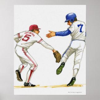 Baseball runner and fielder at a base poster