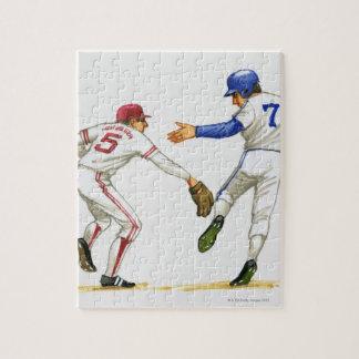Baseball runner and fielder at a base puzzle