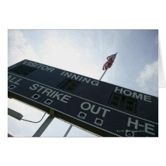 Baseball scoreboard with American flag Greeting Card