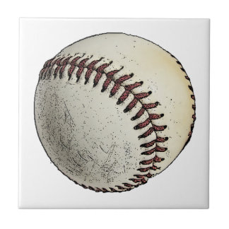 Baseball Sketch Small Square Tile
