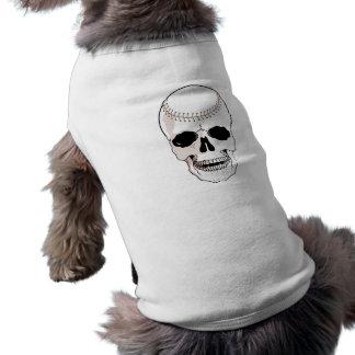 baseball skull head sleeveless dog shirt