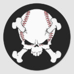Baseball Skull Round Sticker