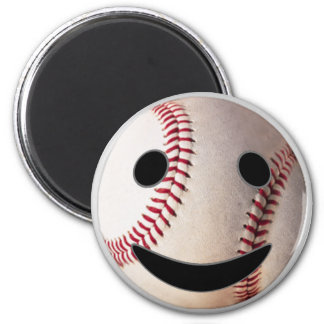 Baseball Smiley- add YOUR words 6 Cm Round Magnet