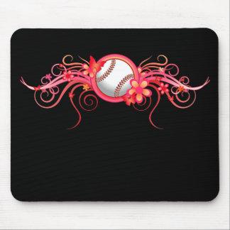 Baseball / Softball Butterfly Flower Pink Mousepad