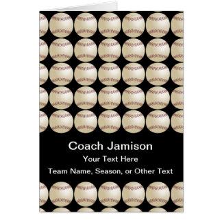 Baseball/Softball for Coach, Blank Inside, Black Greeting Card