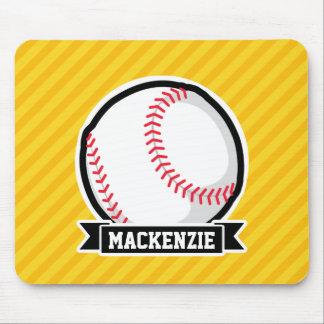Baseball, softball on Yellow Stripes Mouse Pads