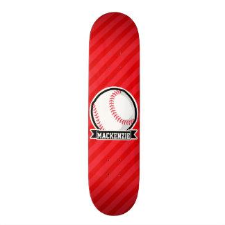 Baseball, Softball; Red Diagonal Stripes Custom Skateboard