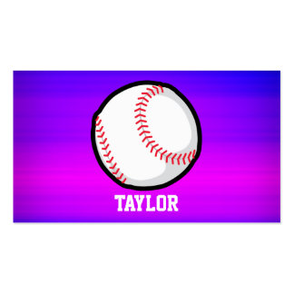 Baseball, Softball Vibrant Violet Blue and Magenta Double-Sided Standard Business Cards (Pack Of 100)
