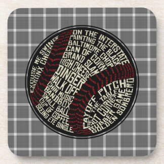 Baseball Softball Word Art Coasters